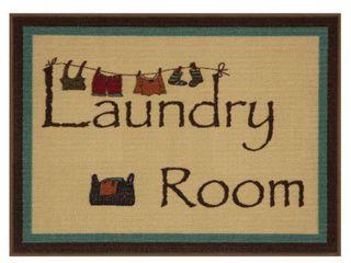 Ottomanson Washtown Bordered laundry Mat Runner Rug  Beige