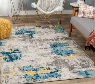 Porch   Den lanewood Cream Blue Abstract Area Rug  Retail 190 99