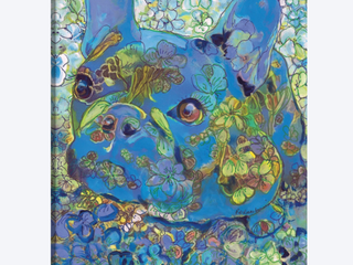 Blue French Bulldog lulu Belle by Randy Riccobonis Canvas Art