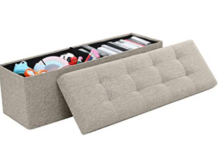 Foldable Tufted linen large Storage Ottoman Bench Foot Rest Stool Seat   15  x 30  x 15