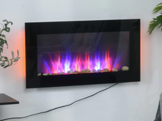 HOMCOM 35 75  1500W Electric Wall Mounted Fireplace with Flame Effect  7 Color Background light and Side light  Black  Retail 201 36