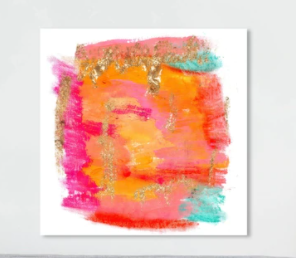 Oliver Gal Abstract Wall Art Framed Canvas Prints  New Yorker in Spring  Watercolor   Orange  Pink  Retail 116 49