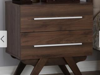 Auburn Mid Century Modern Walnut Finished Wood 2 Drawer Nightstand Brown   Baxton Studio