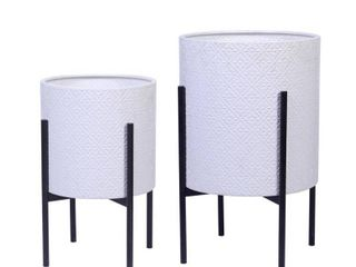 luxen Home White Metal Planters with Black Stand  2 Piece