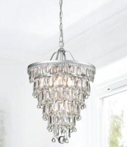 Silver Orchid Taylor Conical Matte Silver 4 light Crystal Chandelier Retail 173 99