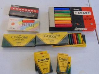 Assorted Old Crayons and Chalk