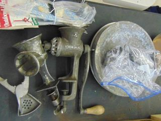 2 Metal Meat Grinders   lime Squeezer   And More