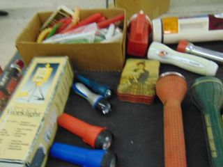lot of Assorted Flashlights   emergency candles   Work light