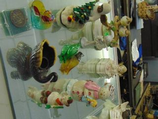 Swan figurines   Floral Hat Pin Holder   Other assorted glass figures