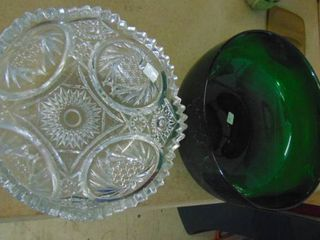 large cut glass bowl   large green glass bowl