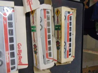 3 Trailways toy buses in boxes