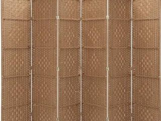 Rose Home Fashion RHF 6 ft Tall 15 7  Wide Diamond Weave Fiber 6 Panels Room Divider 6 Panels Screen Folding Privacy Partition Wall Room Divider Freestanding 6 Panel Natural