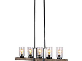 Anmytek Metal Wood and Glass Chandelier Pendant light Retro Rustic loft Antique lamp Edison Vintage Decorative Five lights Fixtures and Ceiling light luminaire  Five lights