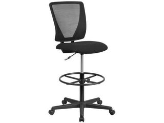 Flash Furniture Ergonomic Mid Back Mesh Drafting Office Chair with Black Fabric Seat and Adjustable Foot Ring