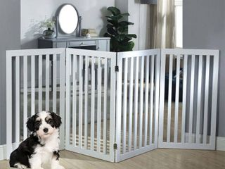 unipaws Freestanding Wooden Dog Gate  Foldable Pet Gate with 2Pcs Support Feet Dog Barrier Indoor Pet Gate Panels for Stairs  White  4 Panels  20 inches Wide  36 inches High