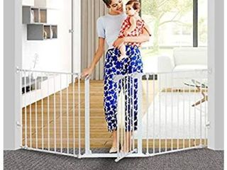 Regalo 56 Inch Extra WideSpan Walk Through Baby Gate  Includes 4 Inch  8 Inch and 12 Inch Extension  4 Pack of Pressure Mounts and 4 Pack of Wall Cups and Mounting Kit