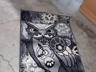 Masada Rugs  Steampunk Style Mat Area Rug Owl Gears Design  24 inch x 40 inch  Grey