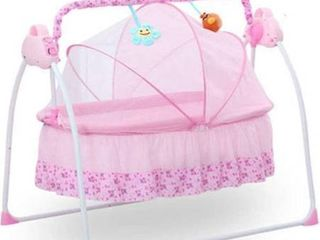 Pink Automatic Swing Baby Cradle Electric Infant Rocker