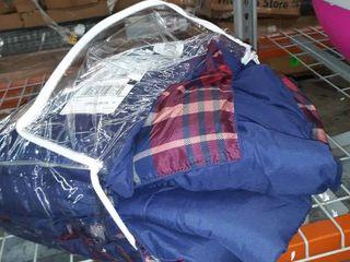 Navy and Burgandy Plaid Comforter