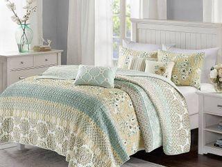 loraine 6 Piece Cotton Sateen Printed Coverlet Bedding Set Full Queen