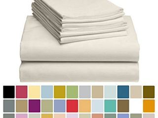 6 PC luxClub Bamboo Sheet Set w  18 inch Deep Pockets   Eco Friendly  Wrinkle Free  Hypoallergentic  Antibacterial  Moisture Wicking  Fade Resistant  Silky  Stronger   Softer than Cotton   Cream Queen