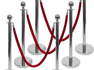 3 Foot Polished Ball Top Stanchions 6 Pack   Includes 4 5 Foot Red Velvet Rope  Silver