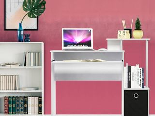 Furinno Econ Multipurpose Home Office Computer Writing Desk w Bin  White Black