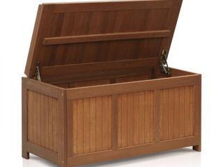 Furinno FG17685 Tioman Outdoor Patio Furniture Hardwood Deck Box in Teak Oil  Natural