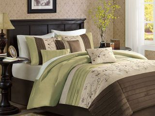 Monroe 7 Piece Embroidered Comforter Set   Green  California King