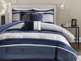 Navy Burnett Comforter Set King 7pc