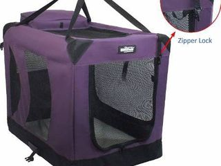 EliteField 3 Door Folding Soft Dog Crate  Indoor   Outdoor Pet Home  Multiple Sizes and Colors Available  36  l x 24  W x 28  H  Purple