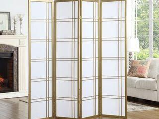 Roundhill Furniture Seto 4 Panel Room Divider Screen  Gold