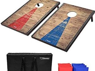 GoSports Classic Cornhole Set   Includes 8 Bean Bags  Travel Case and Game Rules  Choose between American Flag  Football  Rustic  Chevron  Wood and Classic Designs