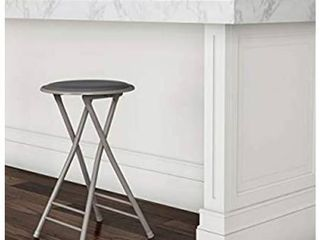 Trademark Home Folding Heavy Duty 24 Inch Collapsible Padded Round Stool  Gray