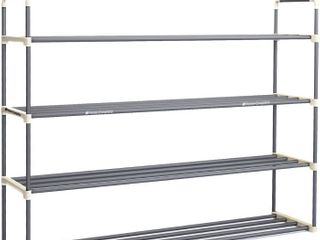 Shoe Rack with 4 Shelves Four Tiers for 24 Pairs For Bedroom  Entryway  Hallway  and Closet  Space Saving Storage and Organization by Home Complete