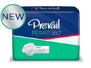 Prevail Per Fit360IJ Adult Incontinent Brief Tab Closure  X large  Disposable  Heavy Absorbency  Bag of 15