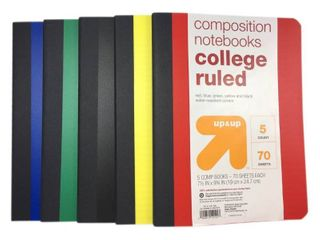 5pk College Ruled Solid Composition Notebooks   Up Up  Multi Colored