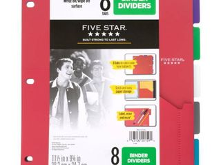 Five Star 8 Tab Binder Dividers with Pocket Multicolor