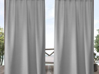 Set of 2 84 x54  Solid Cabana Grommet Top light Filtering Curtain Panel light Gray   Exclusive Home