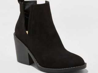 Women s Basil Microsuede Cut Out Fashion Bootie   Universal Thread Black 5 5