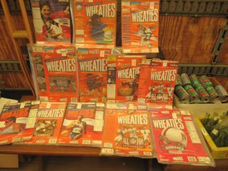 13 Vintage Wheaties breakfast of champions boxes in plastic wrappers