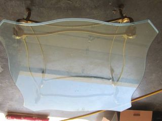 40  Square Glass and Brass Table Belveled Edge