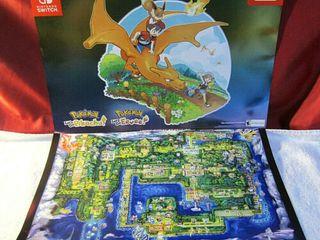 Est 100 Pokemon Nintendo Switch let s Go Pikachu Eevee 2 Sided Promo Poster   Map