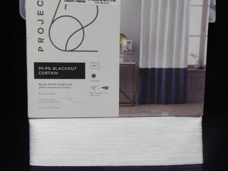 Project 62 99 9  white with blue colorblock blackout curtain 50in W X 84in l