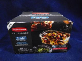 Rubbermaid brilliance glass oven safe 6 piece set glass containers