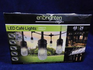 Enbrighten cafe lED indoor   outdoor cafe lights 48ft with 24 bulbs