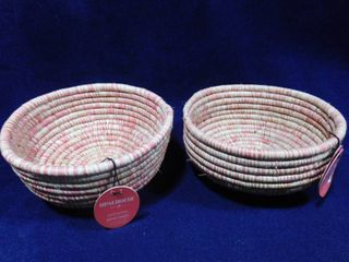 2 Opalhouse handwoven baskets 4 1 2in H X 8in dia