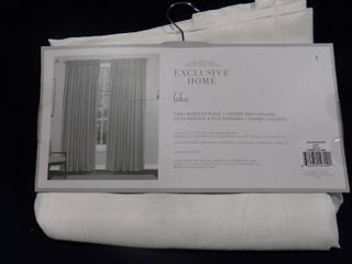 Exclusive home loha winter white two inverted pleat hidden tab curtains 84in l