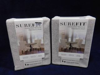 2 Surefit oatmeal covered dining chair slipcover relaxed fit short  up to 42in H