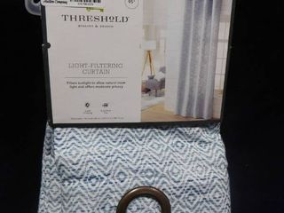 Threshold blue spacedye diamond light filtering curtain 54in W X 95in l